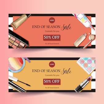 Cosmetic banner design with mascara, lipstick, highlighter
