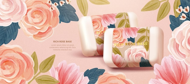Cosmetic banner template merging realistic botanical soaps with cute watercolor floral background