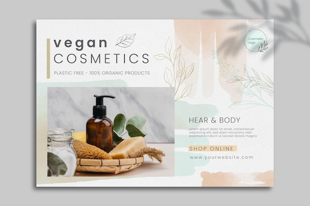 Cosmetic banner template with photo