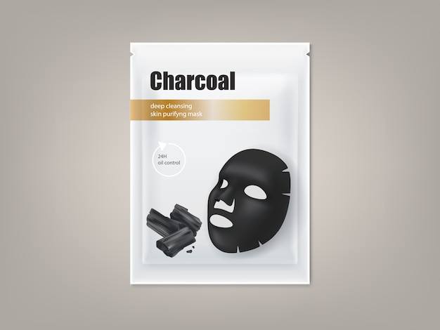 Cosmetic banner with 3d realistic package for charcoal anti-blackhead facial mask