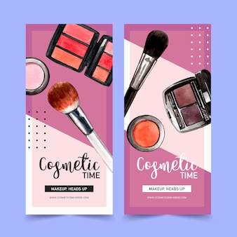 Cosmetic banner with brush on, eyebrow palette