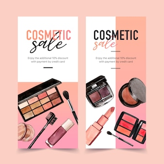 Cosmetic banner with eyeshadow, lipstick