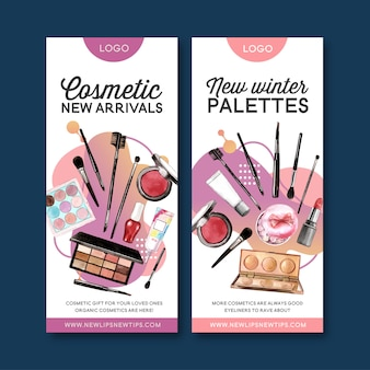 Cosmetic banner with highlighter, lip tint, eyeshadow