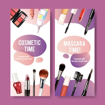 Cosmetic banner with mascara, lipstick, brush on