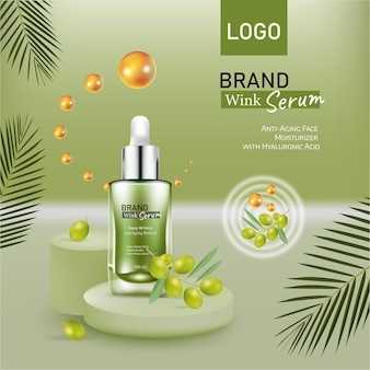 올리브 오일 화장품을 위한 효과 디자인을 사용하여 녹색 매끄러운 배경에 올리브가 있는 화장품 배너