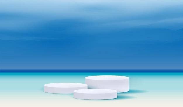 製品プレゼンテーションのブランディングとパッケージングのための化粧品のビーチの背景とプレミアム表彰台のディスプレイ