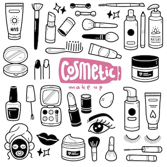 Cosmetic black and white doodle illustration