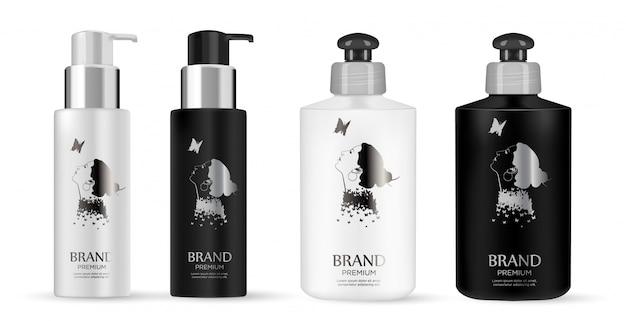 化粧品の黒、白のプラスチックボトル