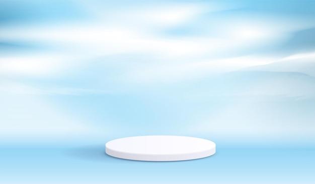 제품 프레젠테이션 브랜딩을 위한 코스메틱 파란색 배경 및 프리미엄 연단 디스플레이.