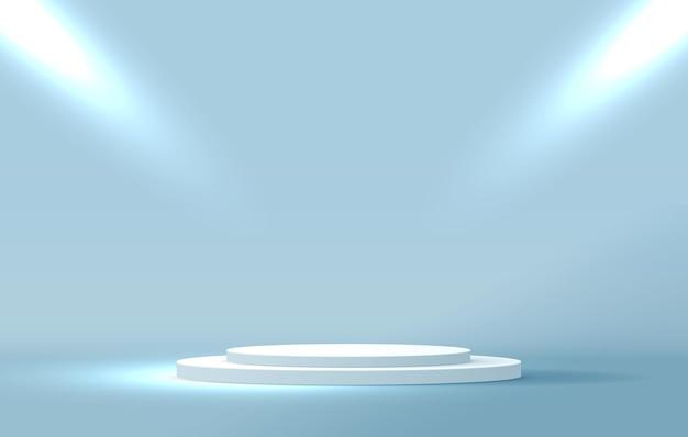 코스메틱 파란색 배경 최소 및 프리미엄 연단 디스플레이.