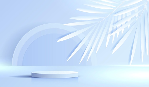 Cosmetic blue background and premium podium display for product presentation branding and packaging