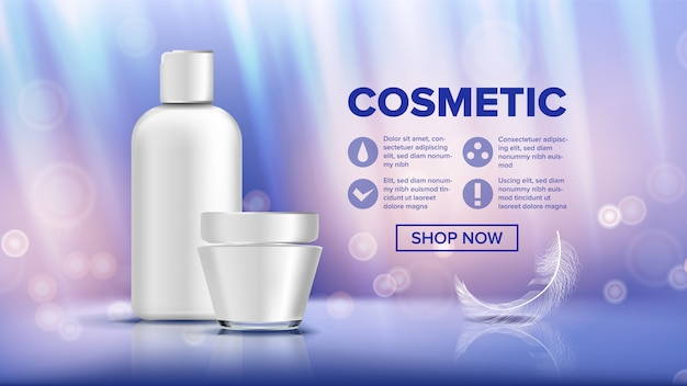 Cosmetic bottle ads banner template