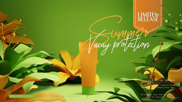 Cosmetic bottle ads or presentation layout template with colorful tropical summer foliage scene