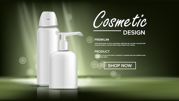 Cosmetic bottle banner template