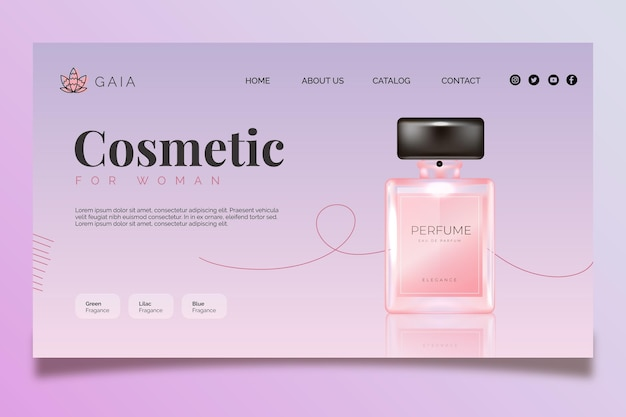 Cosmetic bottle landing page template