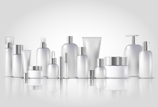 Cosmetic bottle mock up set isolated packages
