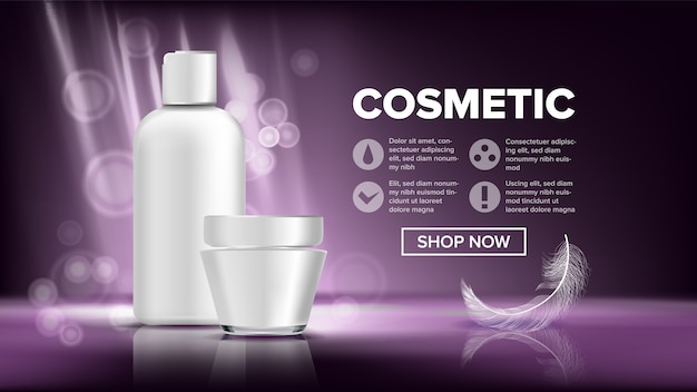 Cosmetic bottle package banner template