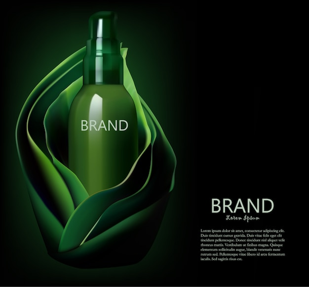 Cosmetic bottle,  package  in a green leaves background template