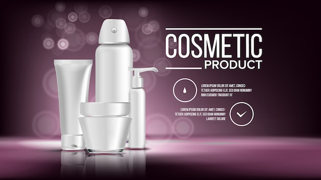 Cosmetic bottle product banner template