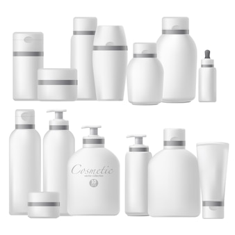 Cosmetic bottle realistic mock up set.
