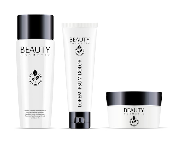 Cosmetic bottle for shampoo and jar with tube for cream
