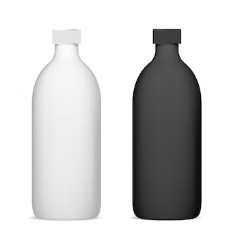 Cosmetic bottle. shampoo package mockup plastic