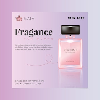 Cosmetic bottle square flyer template with photo