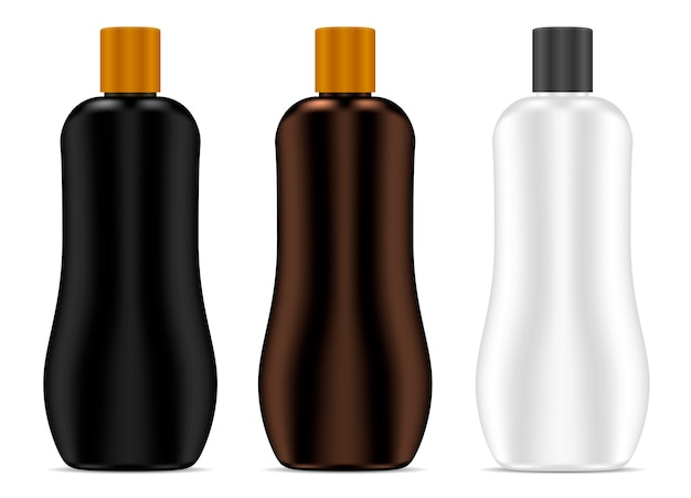 Cosmetic bottle. sunblock cream package set vector