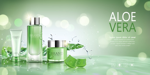 Cosmetic bottle with aloe vera for advertisement.