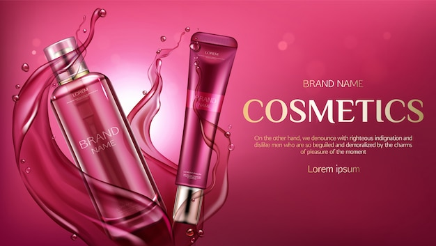 Cosmetic bottles advertising, beauty skin care product banner
