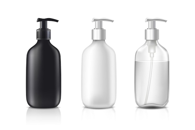 Cosmetic bottles in black white and transparent glass