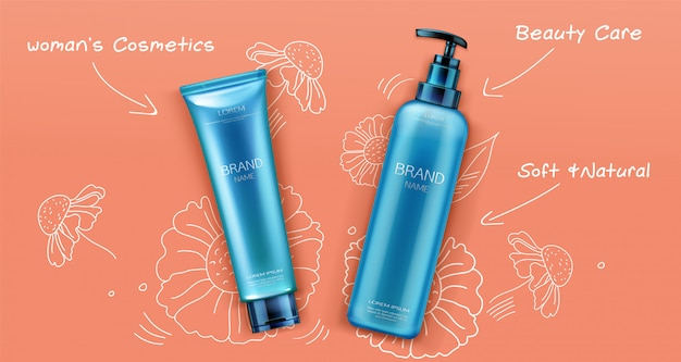 Cosmetic bottles package promo design banner.