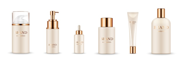 Cosmetic bottles. realistic golden packaging for serum, cream, shampoo, balm. vector cosmetic mockup isolated on white background. illustration cosmetic product with golden caps
