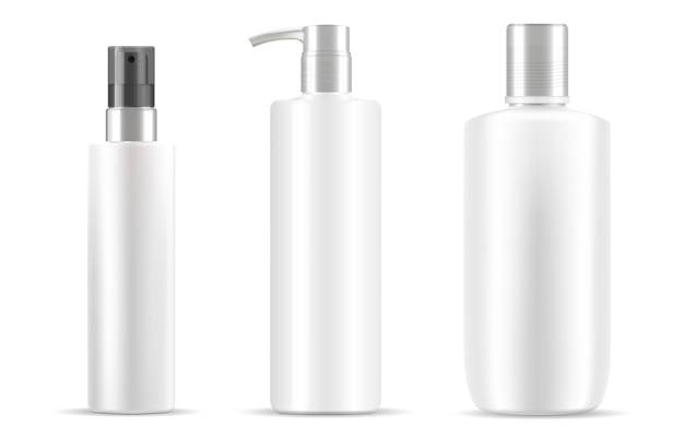 Cosmetic bottles set in white color, clean design