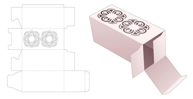 Косметическая коробка с вырезанным по трафарету шаблоном мандалы