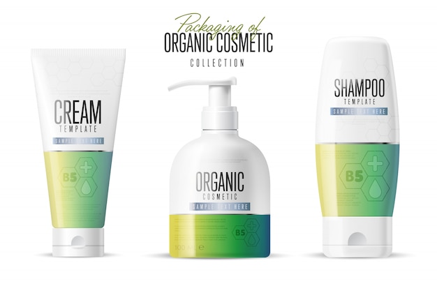 Cosmetic brand template, realistic bottle set,