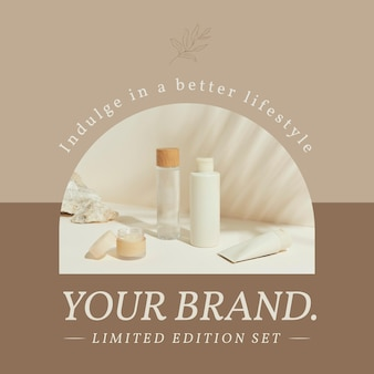 Cosmetic business template vector for social media