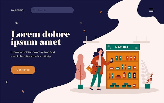 Cosmetic buyer choosing skincare cream flat vector illustration. cartoon woman standing in shop and thinking about beauty products choice. natural eco cosmetics and cosmetology concept