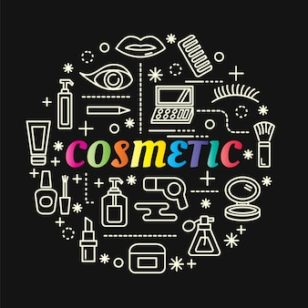 Cosmetic colorful gradient with line icons set