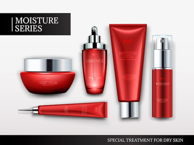 Cosmetic container set, top view of red tubes and jars isolated on white background, 3d illustration