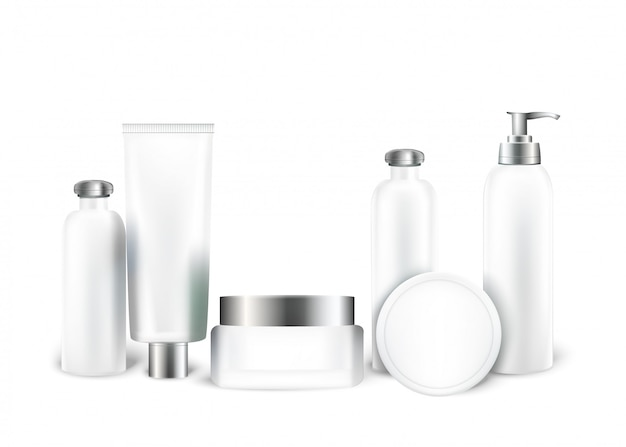 Cosmetic containers mockup set. tube and cream jar