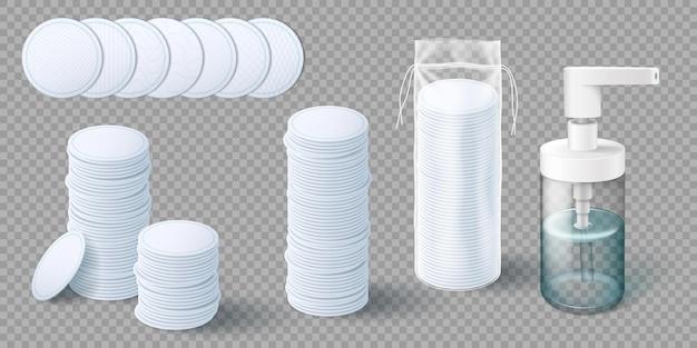 Косметические ватные диски и пластиковый флакон для снятия макияжа. шаблон макета набора гигиенической косметики, макияжа и очищения кожи. реалистичные 3d векторные иллюстрации