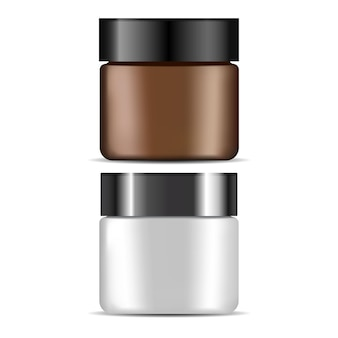 Cosmetic cream jar, brown, white plastic bottle  blank. beauty lotion container, face skin care packaging template. empty creme glass  on white background. makeup powder