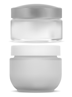 화장품 크림 용기, 흰색 둥근 용기. 얼굴 크림 용 플라스틱 캔.