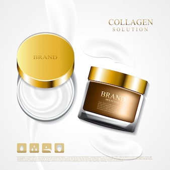 Cosmetic cream jar with a gentle cream collagen