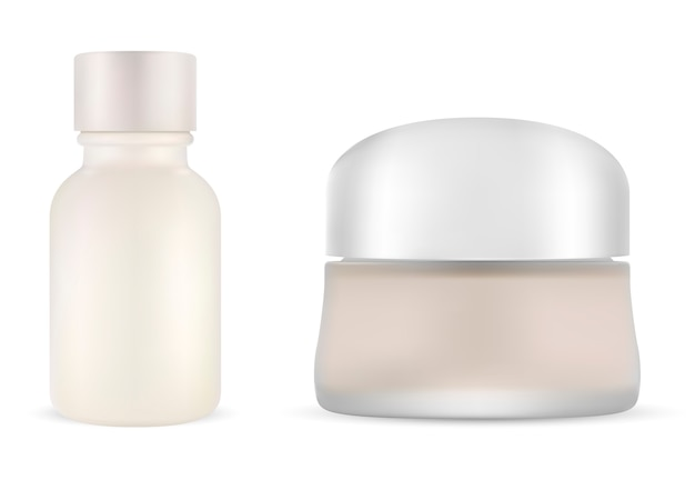 Cosmetic cream jar with serum bottle. mock up set