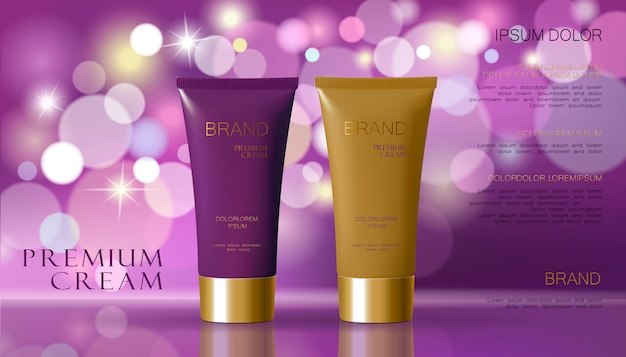 Cosmetic cream and purple violet color background with defocused blurry light bokeh.