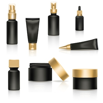 Cosmetic cream realistic template product package gold  3 diamond advertising illustration.