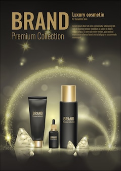 Cosmetic cream realistic template product package gold  3d  diamond advertising illustration.