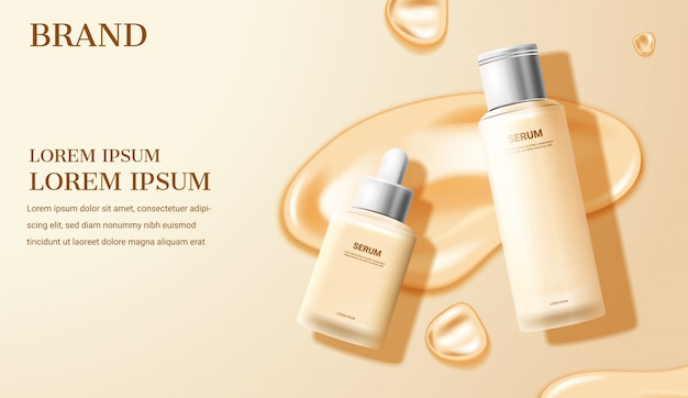 Cosmetic cream and serum on beige background